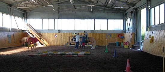 Inside the riding hall